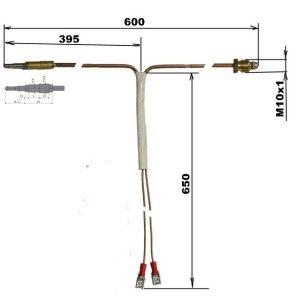 Delený termočlánok M10X1 / 600mm / 650mm