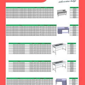 Pracovný stôl s jedným a dvoma drezmi a so spodnou policou